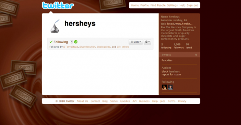 Hershey's Twitter page