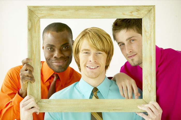 Diverse business men randomly standing in a picture frame