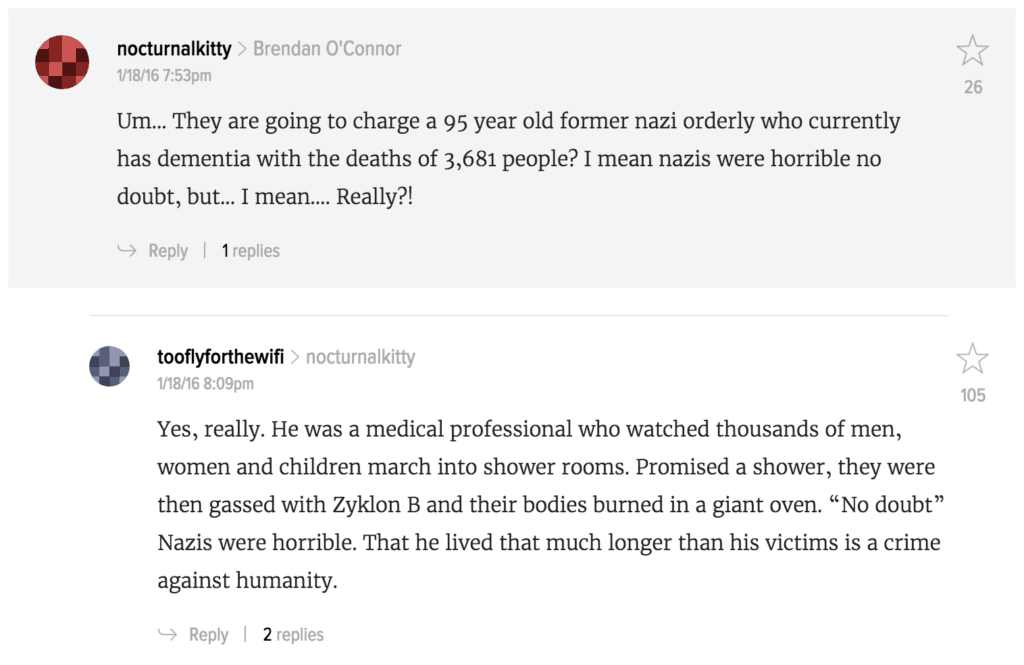 Comments on Gawker post