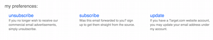 Target unsubscribe option