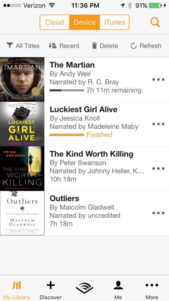 Audible app on iPhone