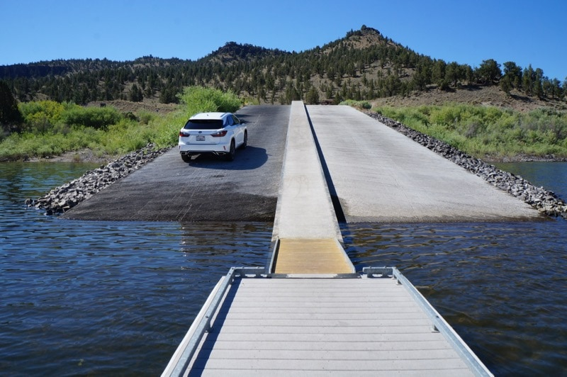 Lexus RX350 on a boat ramp at Prineville Reservoir