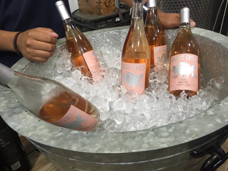 Rose wine at Great Frogs Winery in Annapolis, Maryland