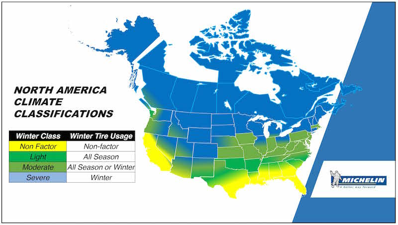 Severe weather regions for winter tires
