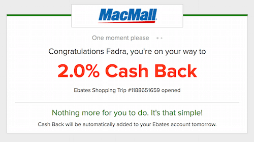 MacMall redirection page from Ebates