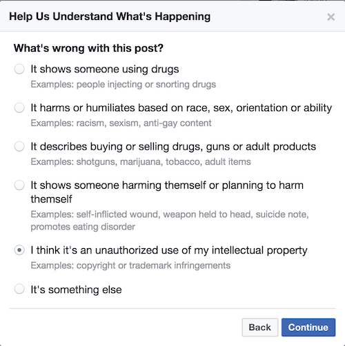 Reporting intellectual property on Facebook