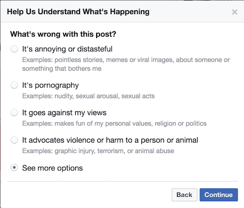 Selecting More options on Facebook