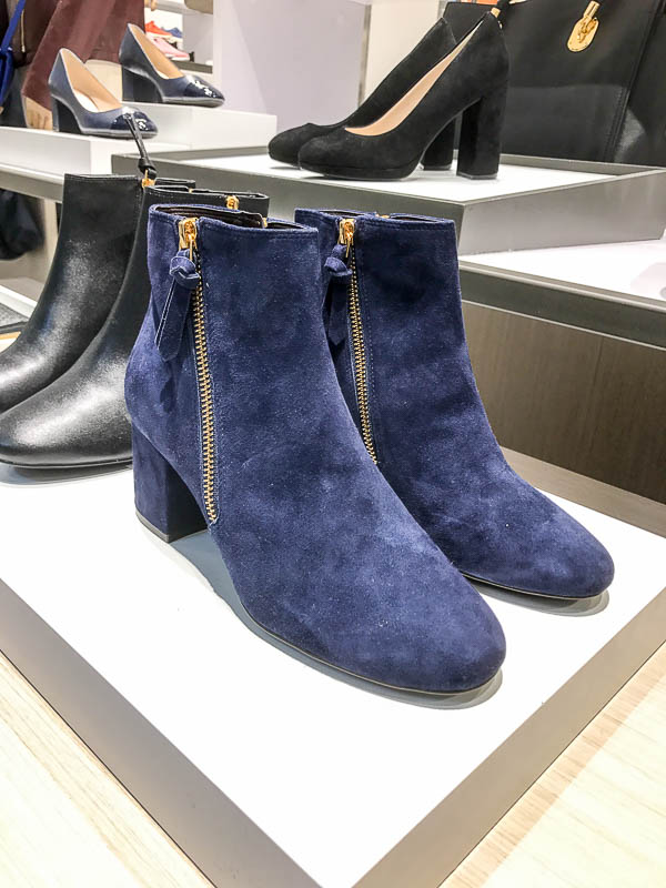 Blue suede boots at Cole Haan