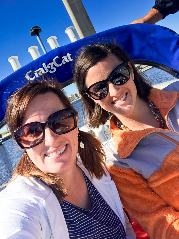 Fadra and Sarah on a cat boat tour