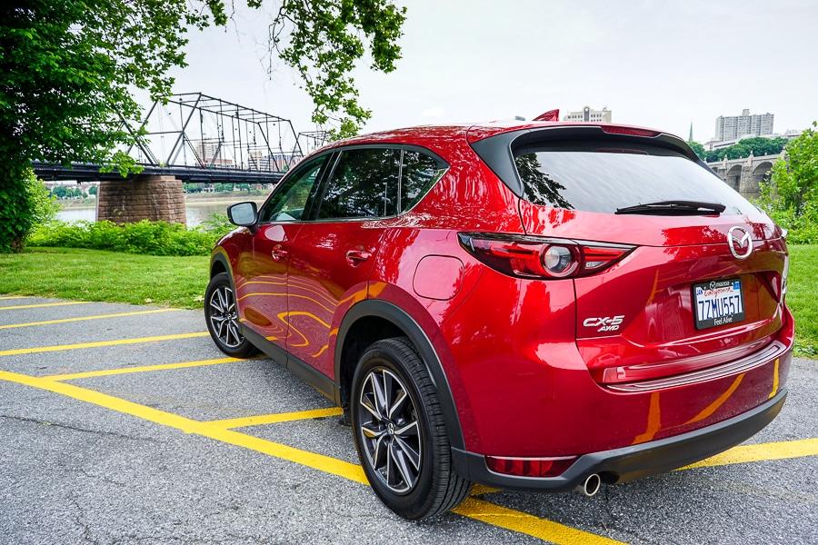 Mazda CX-5 near the pedestrian bridge from City Island to Harrisburg
