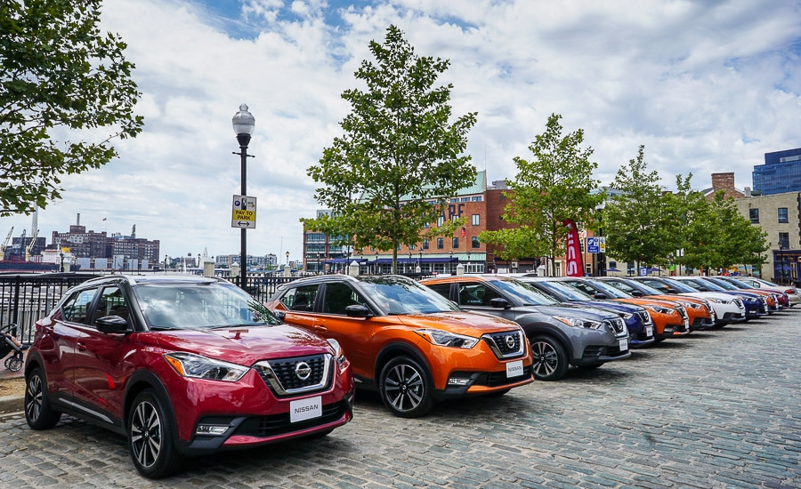 Nissan Kicks line up in Fells Point