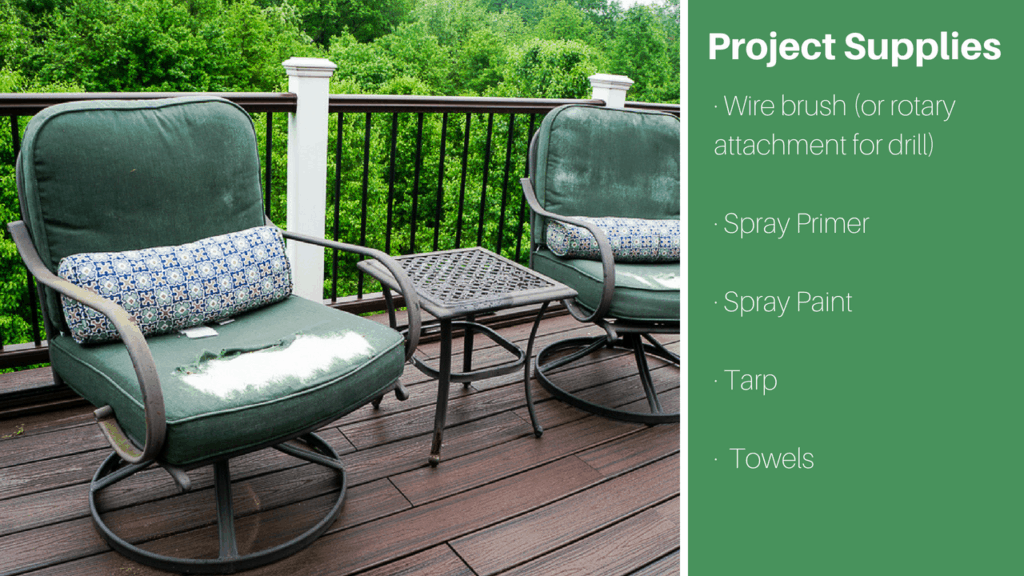 Project Supplies for patio furniture makeover