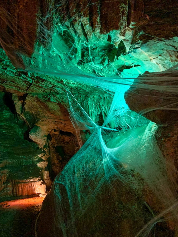 Lincoln Caverns with cobwebs