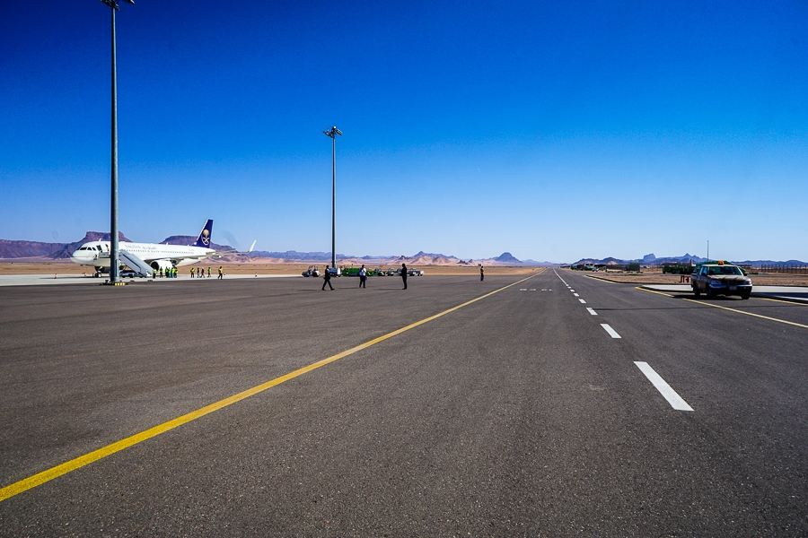 The runway at Prince Abdul Majeed bin Abdulaziz Domestic Airport