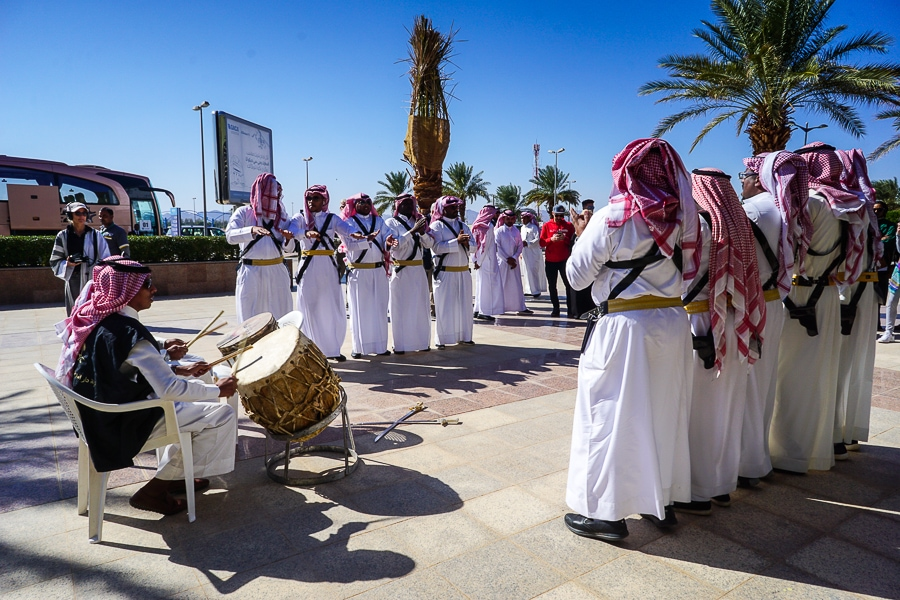 Folk dancers at Prince Abdul Majeed bin Abdulaziz Domestic Airport