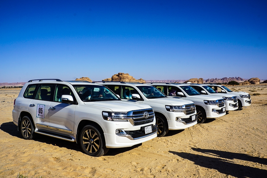 Toyota Land Cruisers were the desert vehicle of choice.