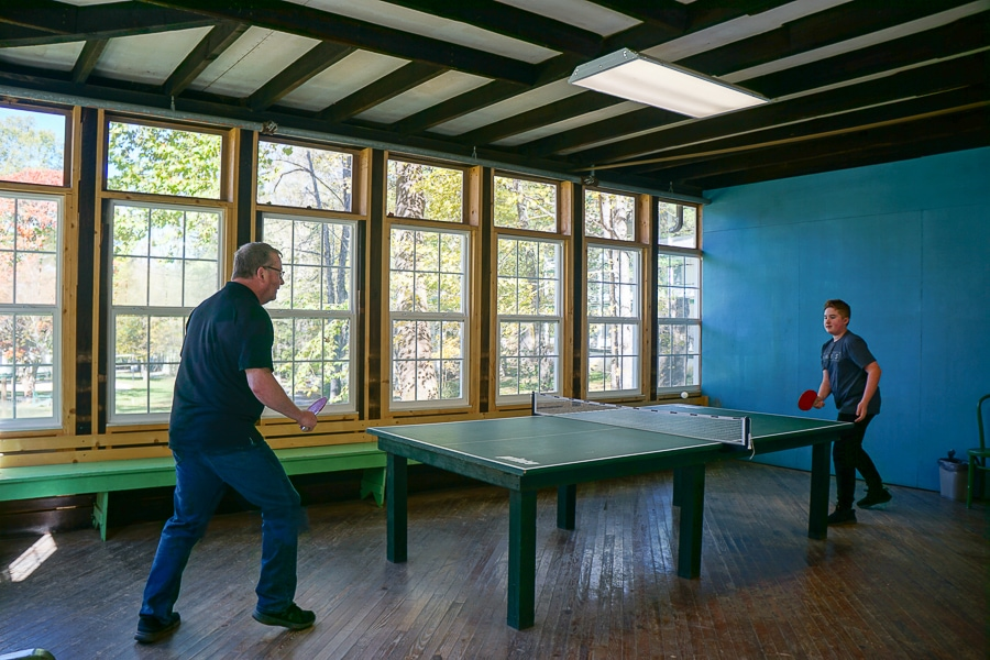 A serious ping pong match at Capon Springs