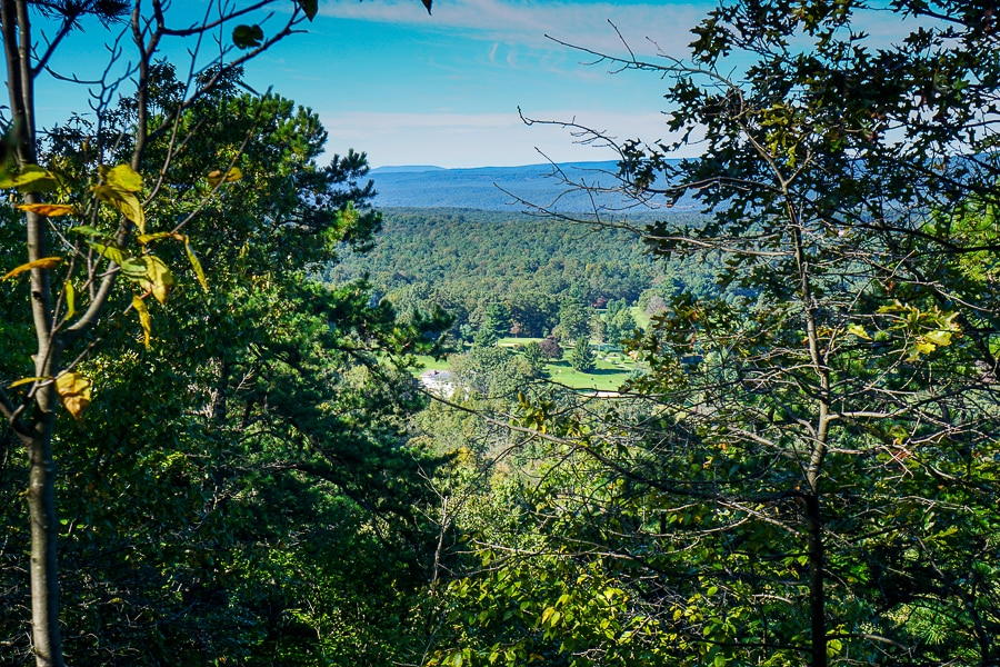 The view of the golf course from the upper ridge hiking trail