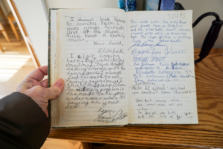 Guest book at Capon Springs