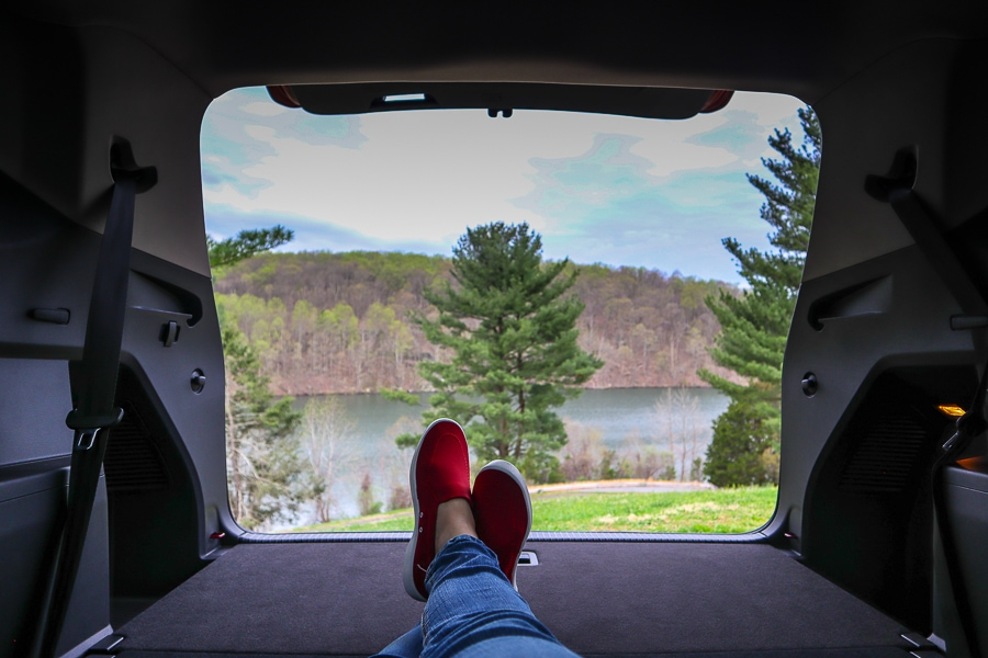 VW Atlas enjoying the full length of the cargo space with a view of Liberty Dam