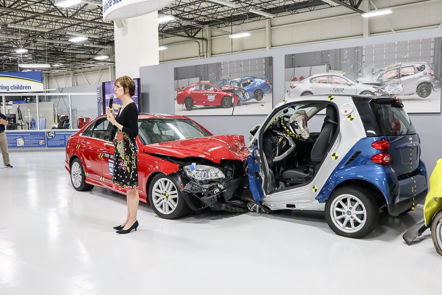 Front crash test of a Smart car