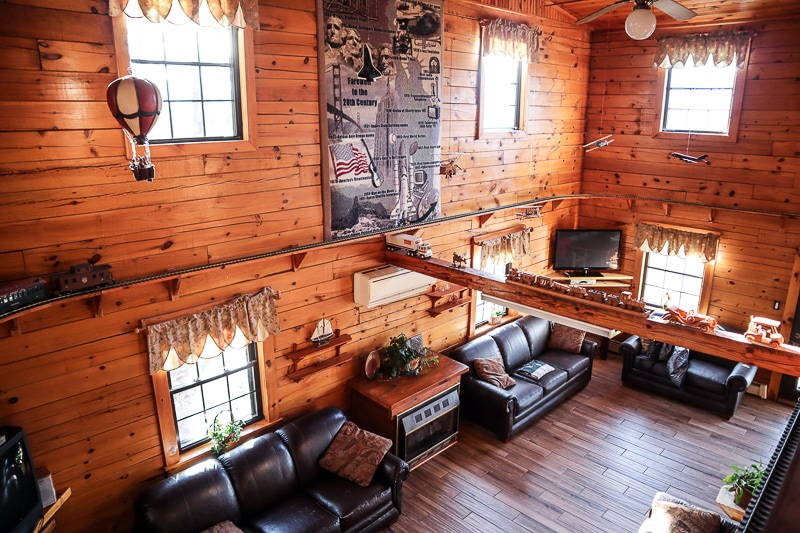 The whimsical main room seats plenty for game night or TV
