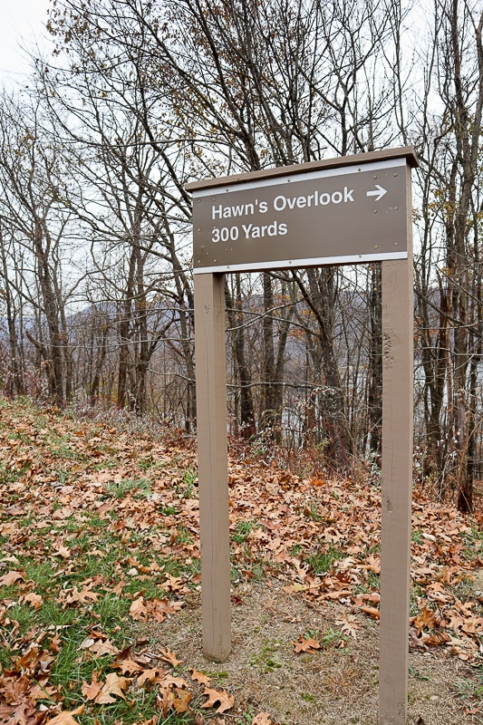Hawn's Overlook is a short walk from the parking lot