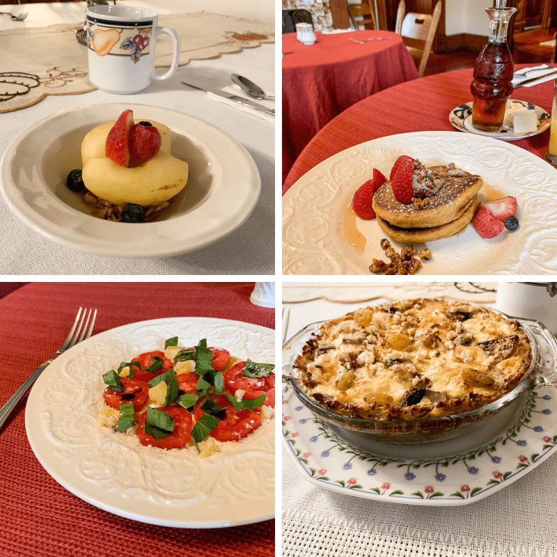 Some of the breakfast dishes served at Gage Mansion