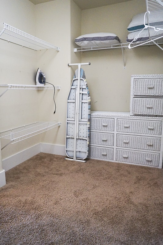Walk-in closet with ironing board