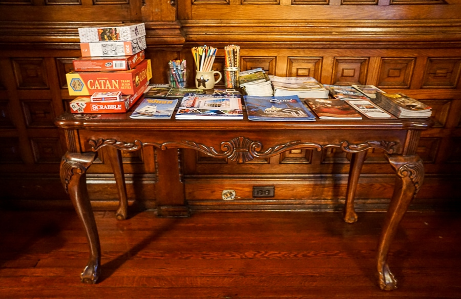 The game table at Gage Mansion is located right by the stairs.