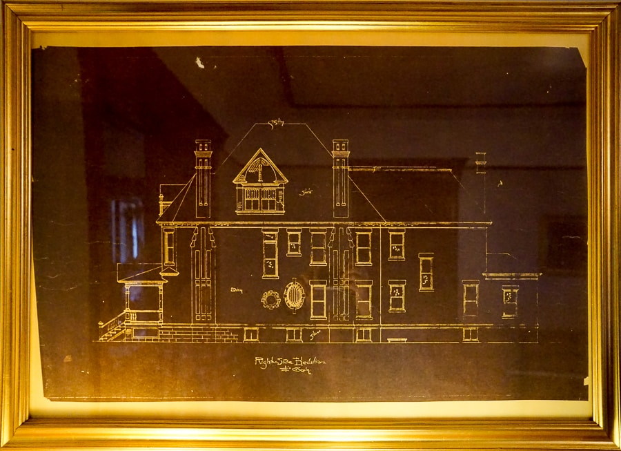 The original blueprints for Gage Mansion are on display
