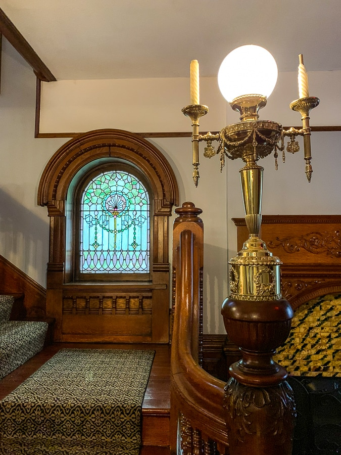 light fixtures on the grand staircase