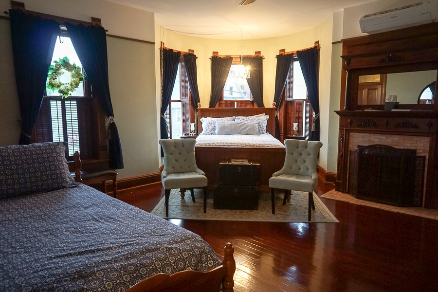 One of the corner guest rooms allowing for more guests in the room.