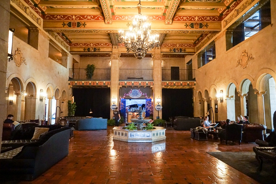 Historic lobby of the Hollywood Roosevelt Hotel