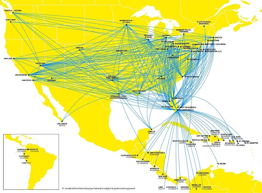 Where Spirit flies (as of 5/19); Courtesy: Spirit Airlines