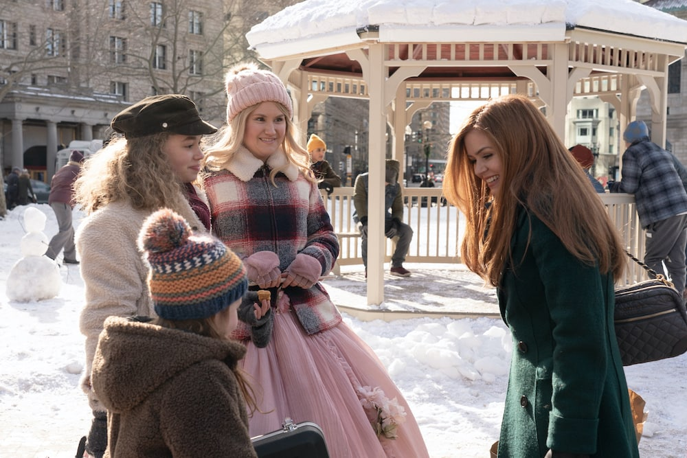 L-R: Willa Skye as Mia, Jillian Shea Spaeder as Jane, Jillian Bell as Eleanor and Isla Fisher as Mackenzie Walsh in GODMOTHERED, exclusively on Disney+.