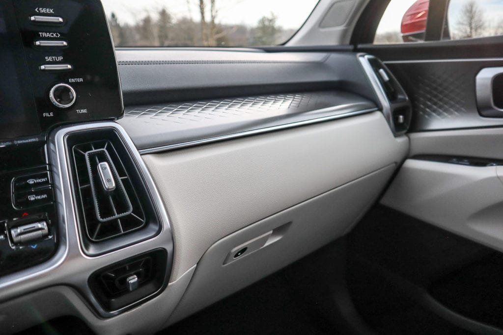 Stamped aluminum abounds in the interior