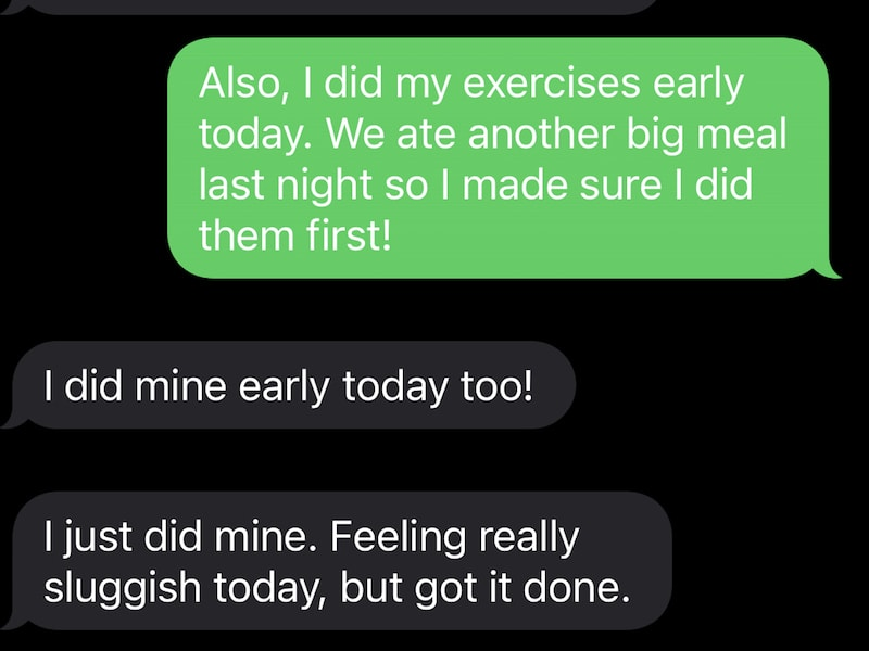 Texting with girlfriends for accountability