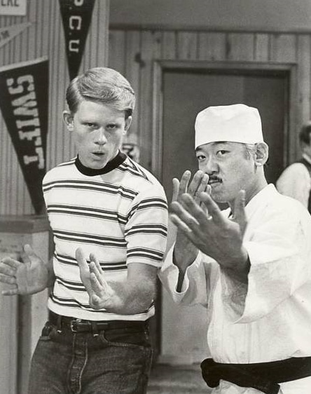 Ron Howard and Pat Morita in Happy Days in 1975