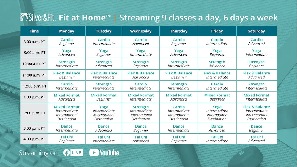 Fit at Home class schedule