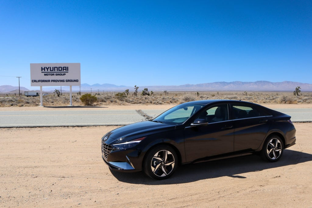 Hyundai Elantra Hybrid was the vehicle I drove from Los Angeles to the California Proving Ground
