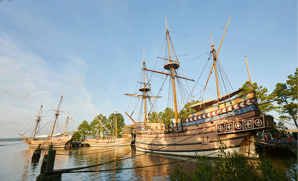 Recreation of the three ships at Jamestown Settlement